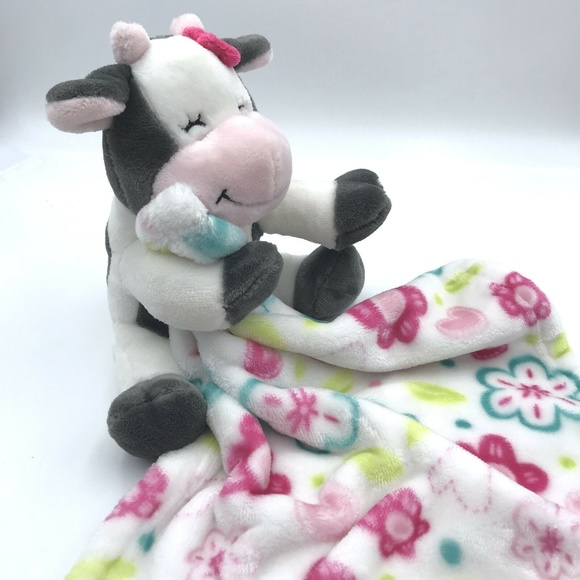 2 PIECE SET LITTLE MIRACLES SWEET SNUGGLES COW  BLACK /&WHITE /& PINC